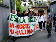 Partiendo hacia la Glorieta de Joaquín Costa para seguir llevando nuestra protesta por las calles de Graus.